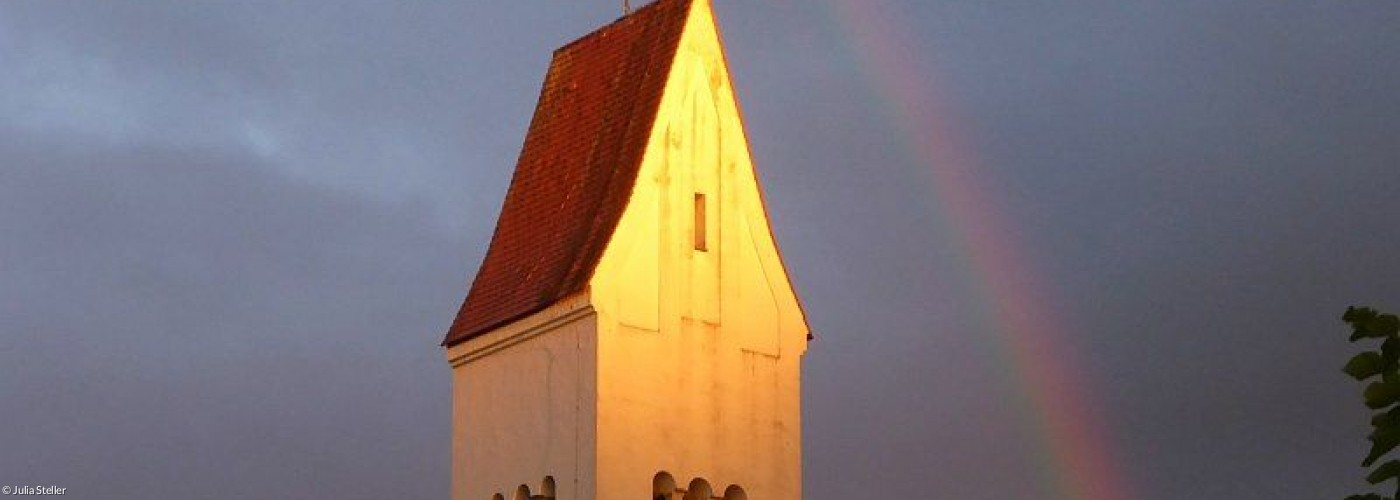 Kirche Schongau mit Regenbogen